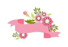 自然与花装饰的花花圈 免版税库存图片