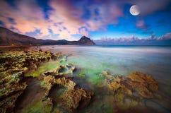 自然保护Monte Cofano的夜视图 免版税库存图片