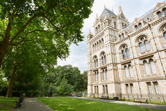 自然历史博物馆大厦门面和庭院在伦敦 图库摄影