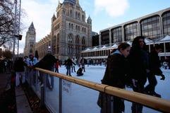 自然历史博物馆的溜冰场,伦敦 库存照片