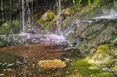 自然古铜色密林岩石瀑布 库存图片