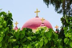 自然叶子框架的基督徒东正教 库存图片