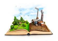 自然和产业污染一切的产业 免版税库存照片