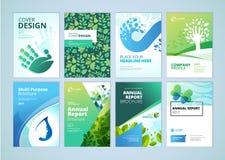 自然和有机产品小册子盖子设计和飞行物布局模板收藏 向量例证