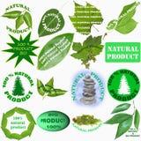 自然和有机产品的十六个标签 免版税库存图片