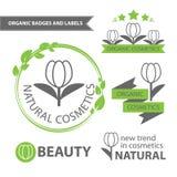 自然和有机化妆用品传染媒介集合象征  有机徽章和标签 库存照片