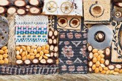 从自然和纺织品对象的装饰品 图库摄影
