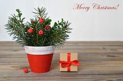 自然圣诞节装饰和圣诞节礼物 免版税库存图片