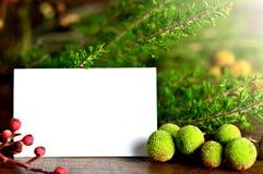 自然圣诞节装饰和空白的圣诞卡 免版税库存图片