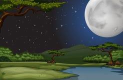 自然场面在fullmoon夜 免版税图库摄影