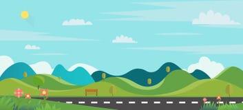 自然场面有草前景的大街城市 有长凳和一点小山和天空背景的公园 皇族释放例证