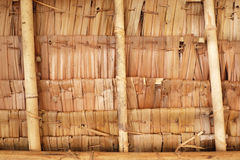 自然屋顶,织法竹子细节  库存图片
