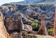 自然岩层想象力或Devrent谷,卡帕多细亚, Goreme,土耳其风景  库存图片