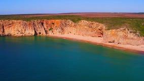 从自然岩石的天线在萨格里什附近在葡萄牙 股票视频