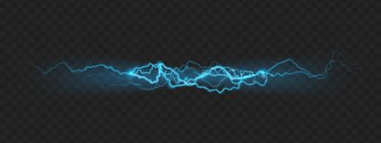 自然强有力的充电闪电的力量作用与火花的 10 eps 向量例证