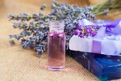 自然手工制造淡紫色液体皂和坚实肥皂 免版税库存照片
