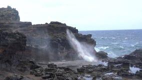 自然打击孔在夏威夷 股票视频