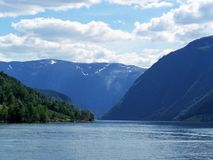 自然挪威夏天 水,森林海湾在一好日子 库存照片