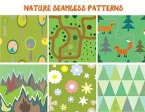 自然无缝的样式设置了与树,花 免版税库存图片