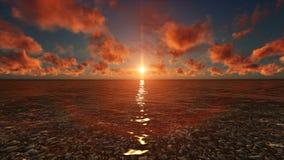 自然日落场面太阳反射在河 免版税图库摄影