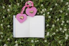 自然本底和书说法的与玫瑰,心脏,红色丝带,情人节概念 免版税库存照片