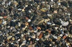 自然本底 小卵石在水中 免版税库存图片