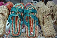 从自然材料的拖鞋 库存照片