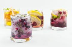 自然果子冰了T与冰,柠檬的汁液并且切了果子  免版税库存照片