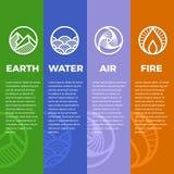 自然标志的4个元素盘旋线boder线现代锋利的样式与地球、火、空气和水传染媒介设计 向量例证