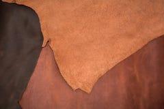 自然棕色皮革三个片断纹理  背景eps10例证皮革向量 免版税库存图片