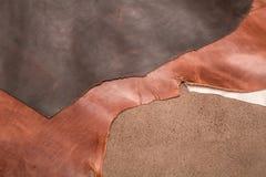 自然棕色皮革三个片断纹理  背景eps10例证皮革向量 库存图片