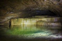自然湖speleothem、小瀑布和瀑布在Nizhneshakuranskaya陷下 免版税库存图片