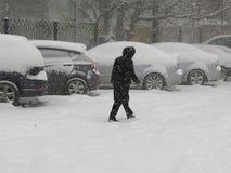 自然灾害冬天,飞雪,大雪麻痹了城市,崩溃 积雪旋风欧洲 图库摄影