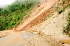 自然灾害,在雨季期间的山崩在泰国 库存照片