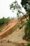 自然灾害,在雨季期间的山崩在泰国 图库摄影