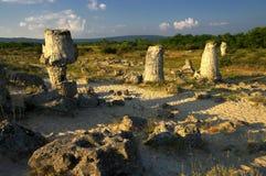 自然现象石头森林,保加利亚/Pobiti kamani/ 免版税图库摄影