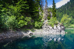 自然的横向 湖小Ritsa的看法 库存图片