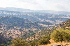 自然的看法在戈兰高地的在六角形水池附近在以色列 免版税库存图片