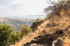 自然的看法在戈兰高地的在六角形水池附近在以色列 免版税图库摄影