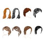 自然的头发和剪影传染媒介 免版税库存图片