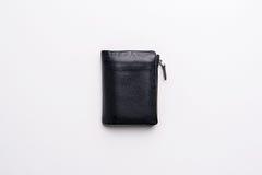 黑自然皮革钱包 免版税库存图片