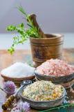 自然盐的三种不同类型在石碗的在木s 库存图片