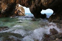 自然石曲拱, Khai海岛, Satun,泰国 库存图片