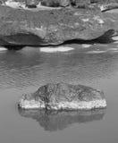 自然石头在水B&W中 库存照片