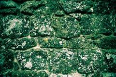 自然石头墙壁与地衣的 免版税库存图片