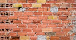 自然砖和水泥墙壁纹理 免版税库存照片