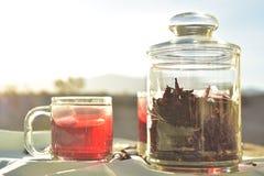 自然红色冰茶由木槿做成在墨西哥开花称Fleur的瓣de牙买加 免版税库存图片