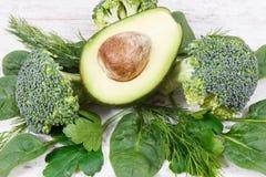 自然绿色成份当来源维生素和矿物 库存图片