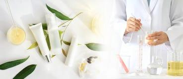 自然美容品概念、医生和医学实验 库存照片