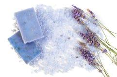 自然肥皂、淡紫色、盐在一个木板,卫生学项目浴的和温泉 免版税库存照片